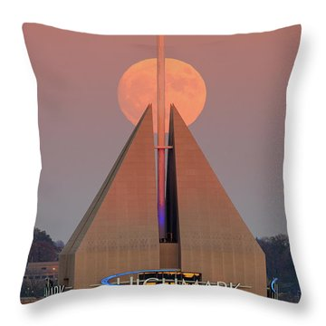 Throw Pillow featuring the photograph Harvest Moon In Pittsburgh  by Emmanuel Panagiotakis