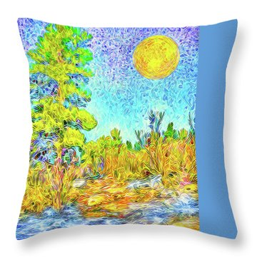 Throw Pillow featuring the digital art Harvest Moon On Crystal Mountain - Boulder County Colorado by Joel Bruce Wallach