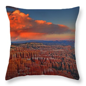 Harvest Moon Over Bryce National Park Throw Pillow