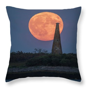 Harvest Moon Over Stage Island, Maine Throw Pillow