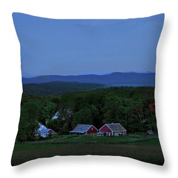 Harvest Moon Over Peacham Vermont Throw Pillow