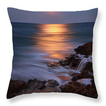 Harvest Moon Rising Over Beach Rocks On Hutchinson Island Florida During Twilight. Throw Pillow by Justin Kelefas