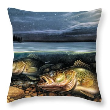 Harvest Moon Walleye 1 Throw Pillow