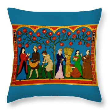 Throw Pillow featuring the painting Harvest Time by Stephanie Moore
