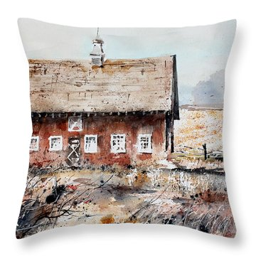 Harvested Fields Throw Pillow by Monte Toon