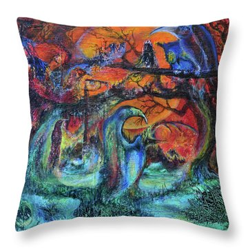 Harvesters Of The Autumnal Swamp Throw Pillow by Christophe Ennis