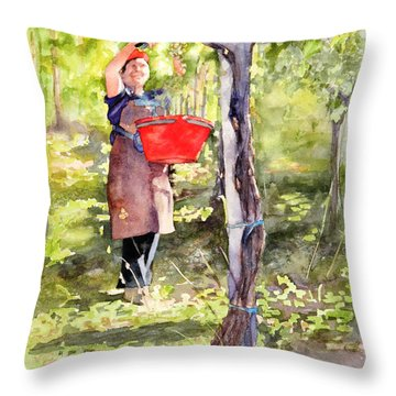 Throw Pillow featuring the painting Harvesting Anna's Grapes by Bonnie Rinier