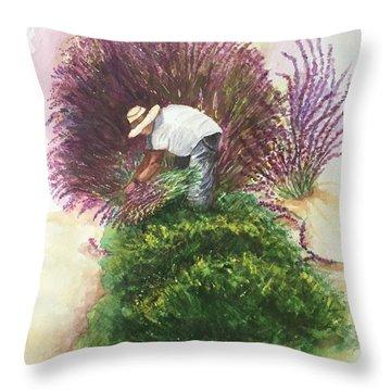 Harvesting Lavender Throw Pillow