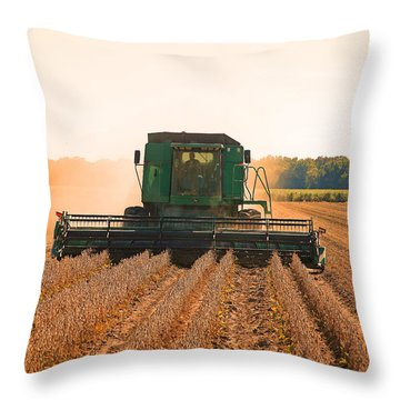 Harvesting Soybeans Throw Pillow