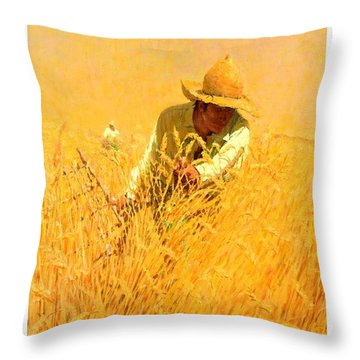 Throw Pillow featuring the painting Harvesting The Wheat 1908 Harvey T Dunn by Peter Gumaer Ogden