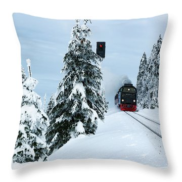 Harz Ballooning And Brocken Railway Throw Pillow