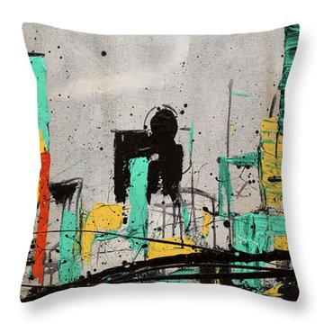 Throw Pillow featuring the painting Hashtag City by Carmen Guedez