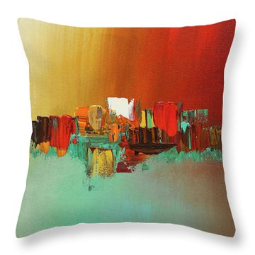 Throw Pillow featuring the painting Hashtag Happy - Abstract Art by Carmen Guedez