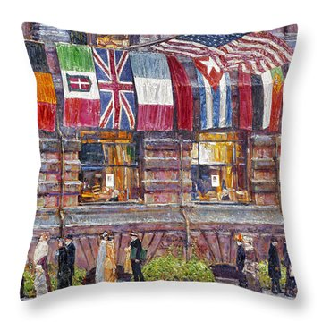 Hassam: Allied Flags, 1917 Throw Pillow by Granger