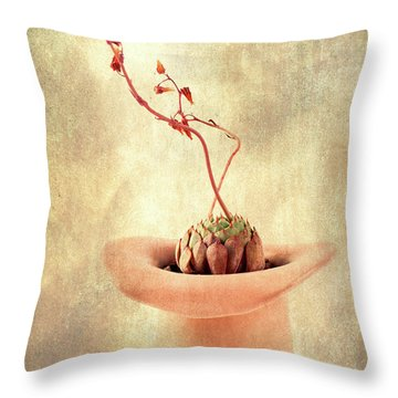 Hat And Echeveria  Throw Pillow by Catherine Lau