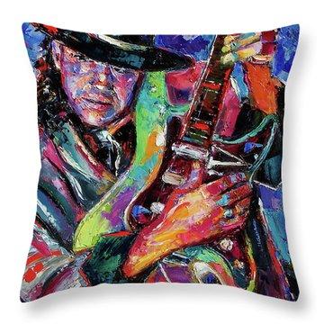 Hat And Guitar Throw Pillow by Debra Hurd