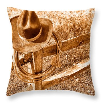 Hat And Lariat - Sepia Throw Pillow