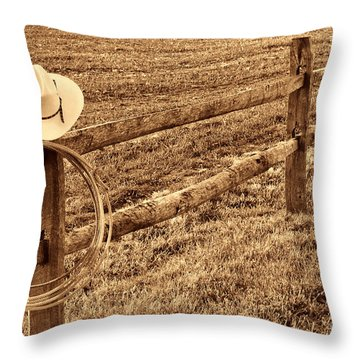 Hat And Lasso On Fence Throw Pillow