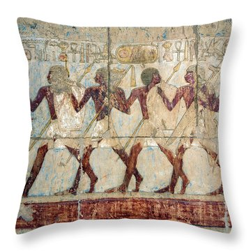 Hatshepsut Temple Parade Of Soldiers Throw Pillow by Aivar Mikko