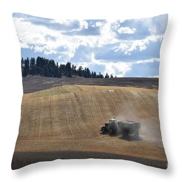 Hauling The Harvest From The Fields. Throw Pillow