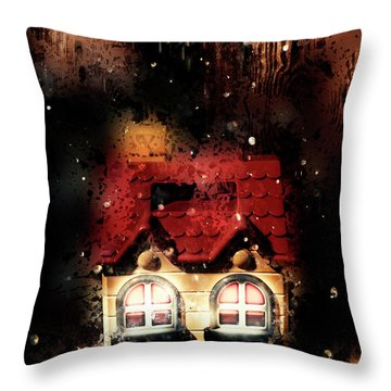 Haunted Doll House Throw Pillow