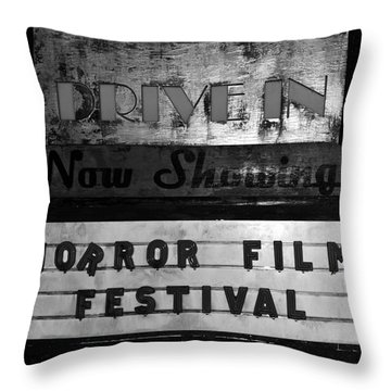 Haunted Drive In Throw Pillow