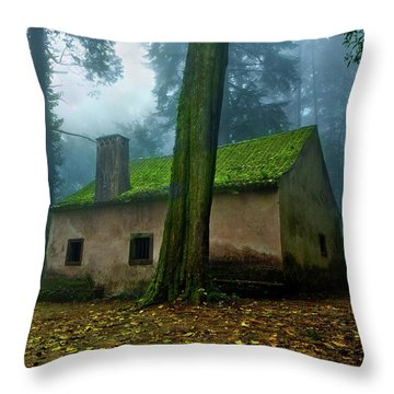 Haunted House Throw Pillow by Jorge Maia