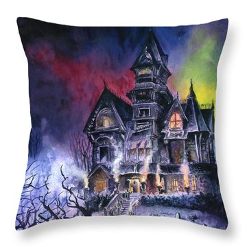 Haunted House Throw Pillow by Ken Meyer jr