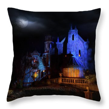Haunted Mansion At Walt Disney World Throw Pillow by Mark Andrew Thomas