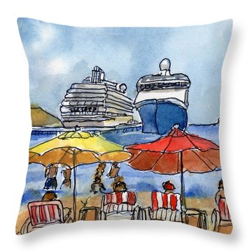 Hautuco Dock Throw Pillow by Randy Sprout