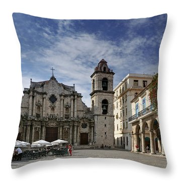 Havana Cathedral. Cuba Throw Pillow