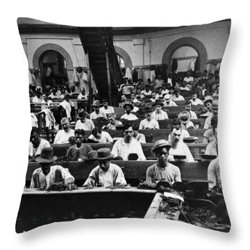 Havana Cuba - Cigars Being Rolled - C 1903 Throw Pillow