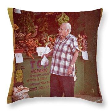 Throw Pillow featuring the photograph Havana Cuba Corner Market by Joan Carroll