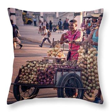 Throw Pillow featuring the photograph Havana Cuba Onion Cart by Joan Carroll
