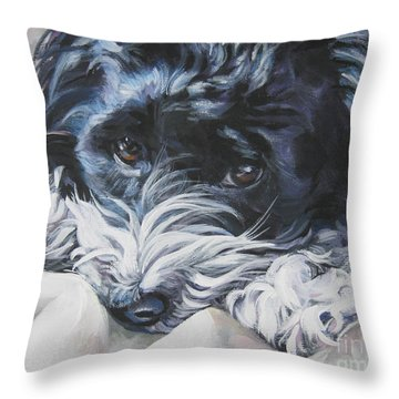 Havanese Black And White Throw Pillow by Lee Ann Shepard