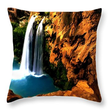 Havasu Waterfall Throw Pillow