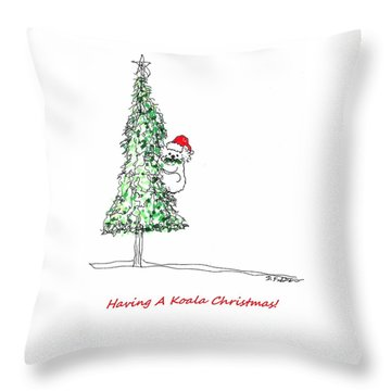 Having A Koala Christmas Throw Pillow