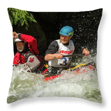 Having Fun In Whitewater Throw Pillow