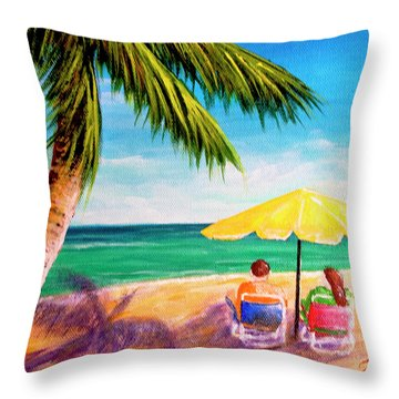 Hawaii Beach Yellow Umbrella #470 Throw Pillow by Donald k Hall