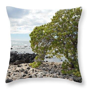 Hawaii Coastline Throw Pillow by Renie Rutten