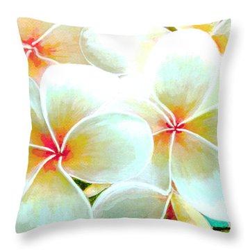 Hawaii Plumeria Frangipani Flowers #86 Throw Pillow by Donald k Hall