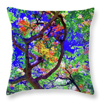 Hawaii Shower Tree Flowers Throw Pillow