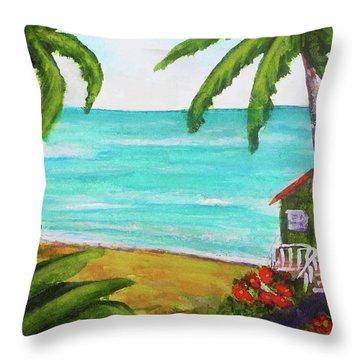 Hawaii Tropical Beach Art Prints Painting #418 Throw Pillow by Donald k Hall