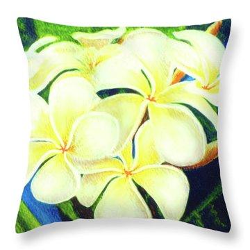 Hawaii Tropical Plumeria #158 Throw Pillow by Donald k Hall