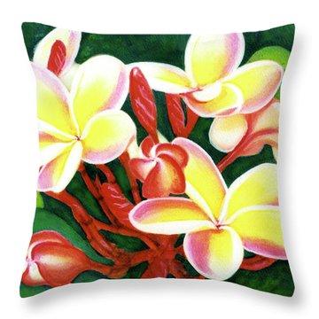 Hawaii Tropical Plumeria Flower #205 Throw Pillow by Donald k Hall