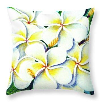 Hawaii Tropical Plumeria Flower #224 Throw Pillow by Donald k Hall