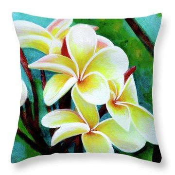 Hawaii Tropical Plumeria Flower #225 Throw Pillow by Donald k Hall