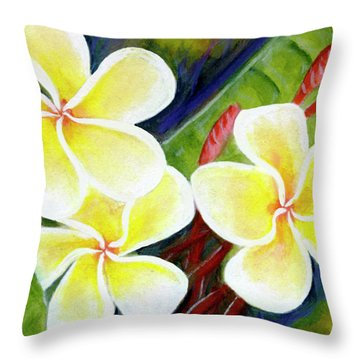 Hawaii Tropical Plumeria Flower #298, Throw Pillow by Donald k Hall