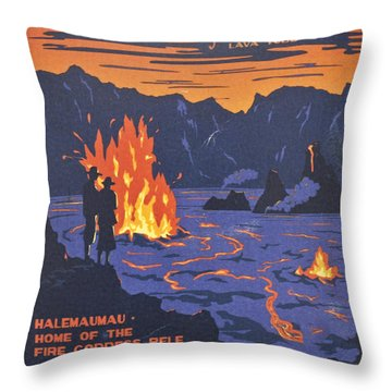 Hawaii Vintage Travel Poster Throw Pillow
