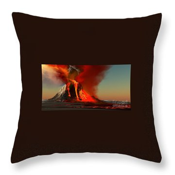 Hawaii Volcano Throw Pillow by Corey Ford